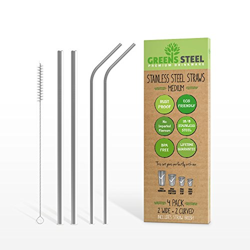 Stainless Steel Straws, Tall, 4-pack