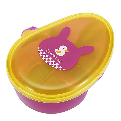 Tragbare Baby feste Fütterung Anti Spill Siegel Aufbewahrungsschüssel Snack Catcher Kasten Mikro Gefrierschrank Nahrungsmittel Vorratsbehälter mit Deckel für Picknick(Gelb + Lila)