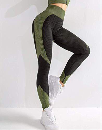 Ollt Femmes Yoga Set Gym Workout Vêtements Crop Top À Manches Longues Zipper Avant sans Couture Serré Taille Haute Conception L Noir Bas