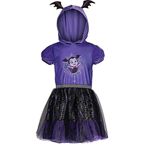 Disney Vestido infantil de tutu com capuz e babados da Vampirina, roxo (2T)