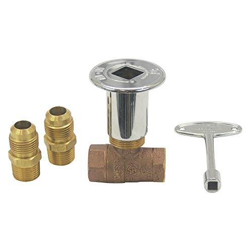 Dreffco 3/4' High Capacity Chrome Keyed Main Shut Off Ball Valve for LP or NG Fire Pits