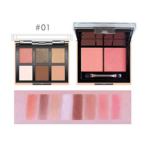 zroven O.TWO.O 2-in-1-Lidschatten- und Rouge-Palette mit Pinsel-Make-up-Palette Kosmetik