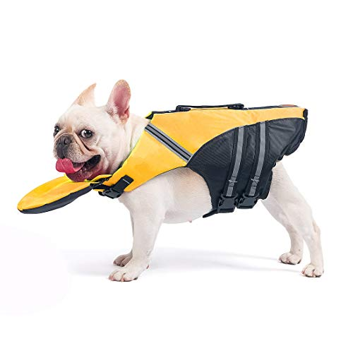 French Bulldog Life Jacket  Professional Dog Safety Vests for Swimming Superior Buoyancy amp Rescue Handle Chest Girth: 17quot30quot Weight: 1728LB