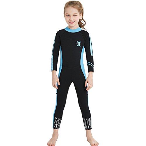 FMDD Kinder Neoprenanzug Langarm Einteiliger Ganzkörper Neoprenanzug Mädchen Tauchanzug Badeanzug für Wassersport (Schwarz, M)