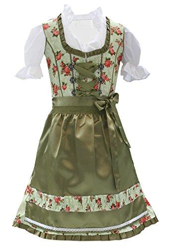 Trachtenkleid 3tlg. Kinder Dirndl Mädchen Kleid Gr. 104,116,128,140,146,152, Grün Geblümt, 140