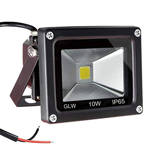 GLW 12V AC or DC LED Flood Light,10W Mini IP65 Waterproof Outdoor Light,900LM,6000K,Daylight White Security Light,80W Halogen Bulb Equivalent
