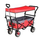 Z-SEAT Carro de jardín, Carro de Mano Plegable, Carro de Camping, con Techo/con Barra de Empuje telescópica/con Freno, 360 & deg;Función de rotación de Grados Carga 10