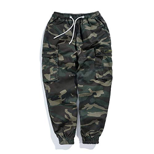 Huntrly Pantalones Deportivos de Camuflaje Informales para Hombres, Bolsillos Sueltos, Rayas Laterales, Pantalones Ajustados Estampados, Pantalones para Correr para Ejercicios de Fitness XL