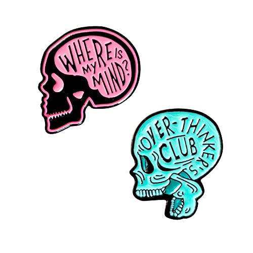 KCHIES Skull Shaped Brooch Halloween Skeleton Enamel Lapel Pin for Couple Women Girls Men Kids Jacket Backpacks Valentines Birthday Christmas Party Favor Decor Gothic Accessories Gift Set Pink Blue