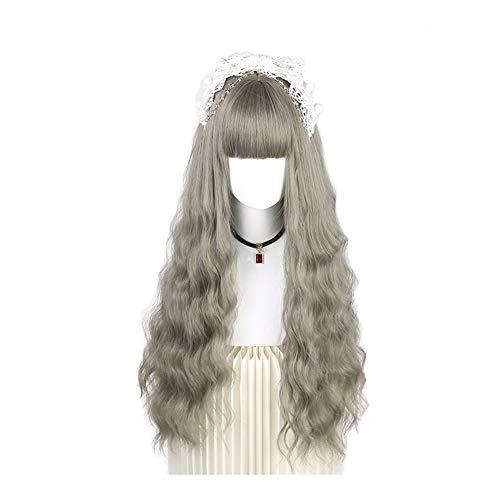 ZH Perruques Lolita Longs Cheveux Bouclés Onduleux De Dentelle Perruque avec Une Frange, Convient for Cosplay, Daily, Fête, Exposition Comique, Carnaval, Halloween (Color : D)