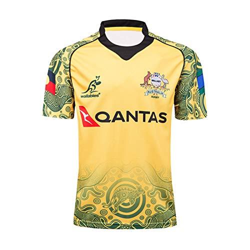 Rugby-Trikots T-Shirts, Australien Wallabies 2017 Kurzarm Rugby Fan Shirt, Weltcup Herren Rugby-Hemd, Gedenkausgabe Rugby Jersey S-XXXL Yellow-XL