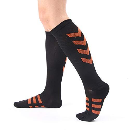 Chaussettes de Compression Pour Femmes Men-Best Medical,Chaussettes Hautes Anti-Fatigu Pour Le Running,L'AthlétiS/Me Et Le Voyage (3 Paires) Orange Moyen