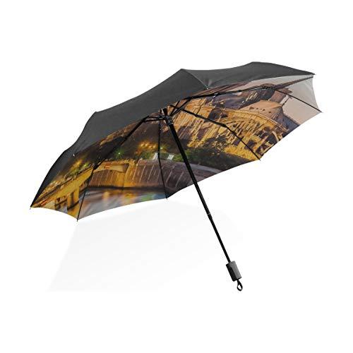 Nette Regenschirme für Frauen Notre Dame De Paris im Sonnenuntergang Tragbarer kompakter klappbarer Regenschirm Anti-UV-Schutz Winddicht Outdoor Travel Frauen Jungen Regenschirm Winddicht