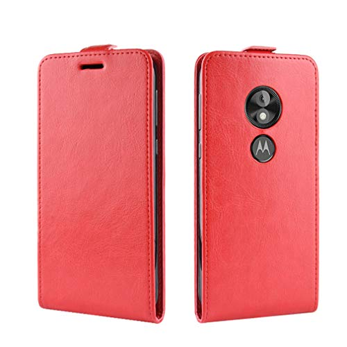 LMFULM® Hülle für Motorola Moto E5 Play (5.3 Zoll) [Fit UK Version only] PU Leder Magnet Brieftasche Lederhülle Handytasche Up-Down-Flip Design Stent-Funktion Ledertasche Cover für Moto E5 Play Rot