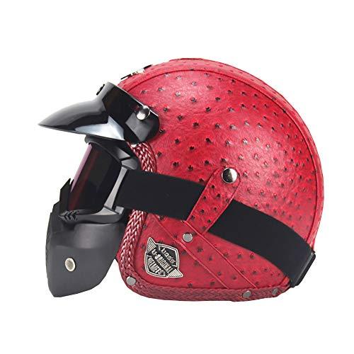 YXDDG Moto Moto Casco Quattro Stagioni Casco Vintage personalità Handmade retrò Harley Casco Moto Motore Auto 3 4 Pelle Casco Casco Mezzo Uomini e Donne-Rosso L