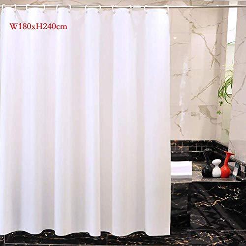 Warmiehomy Weiß Duschvorhang, schimmelresistent und wasserdicht, große Größe Stoffvorhänge mit 12 Haken für Badewanne und Duschkabine,W180 x H200cm