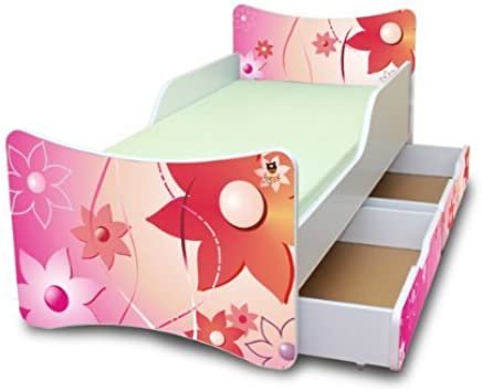 BEST FOR KIDS- Children Toddler bed- wooden mid sleeper with Guardrails  amp drawers 90x200 DESIGNS  flowers