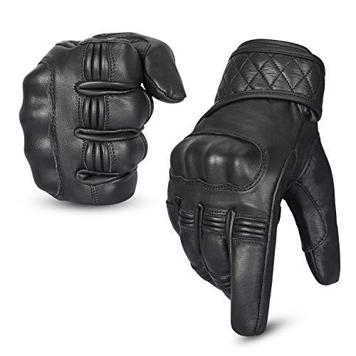 Hand Fellow Leder Motorrad Motorradhandschuhe Touchscreen Hard Knuckle Sommerhandschuhe/Winterhandschuhe Wasserdicht (Winter Schwarz, XL)