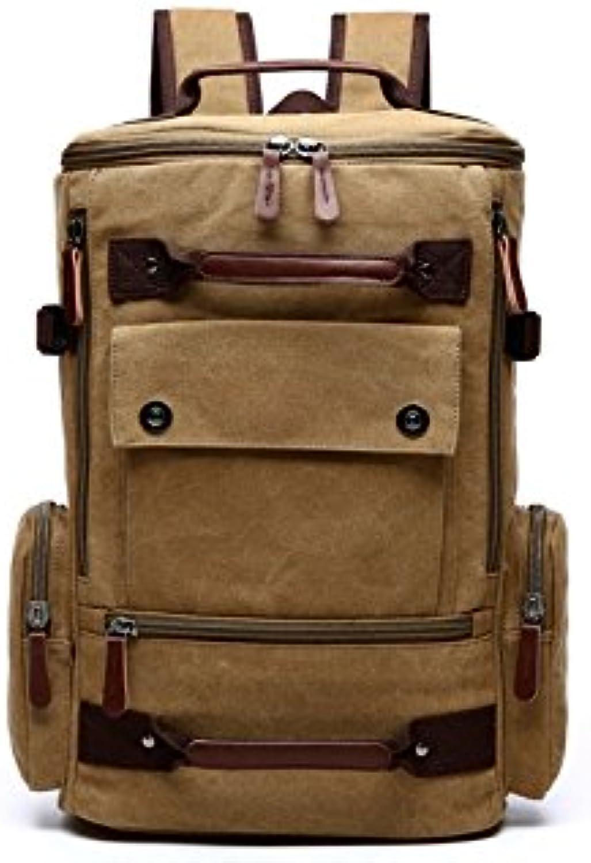 OHlive Grosse Kapazität Mehrzweck Leinwand Rucksack Männer große Kapazität Reisetasche Bergsteigen Taschen (Khaki) B07KXNXLCH | Offizielle Webseite