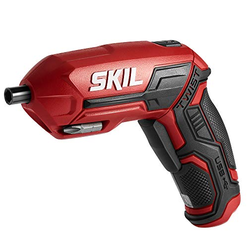 SKIL 4V Pivot Grip Rechargeable Cordless Screwdriver, Includes 9pcs Bit, 1pc Bit Holder, USB Charging Cable - SD561802