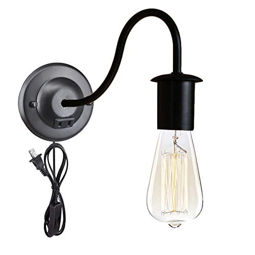 ANYE Minimalist Loft Style Wall Sconce with Outlet Ceiling Canopy Black Finish Wall Lamps Plug-in Wall Lighting with UL Certified Button Switch Cord Bulb Included BD0174-CT