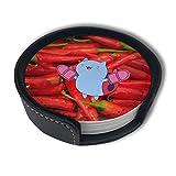 BJAMAJ - Posavasos de piel sintética con diseño de chile y pimienta roja, 6 unidades, para el hogar y la cocina