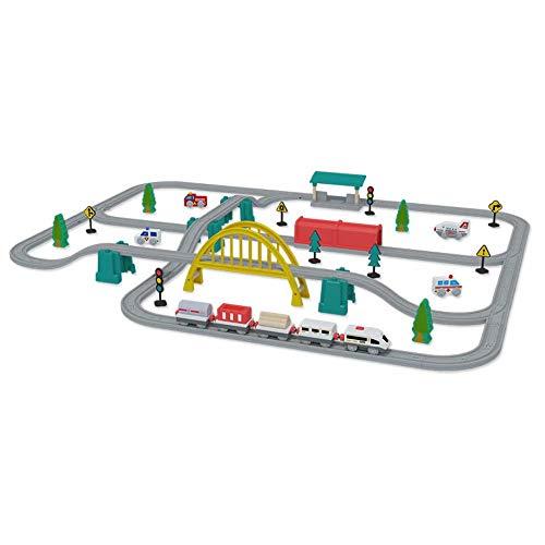 Coche de riel eléctrico para niños Variedad de juguete vagón de ferrocarril bebé educación temprana iluminación tren pequeño modelo de transporte creativo para niños tren eléctrico juguete de riel, re