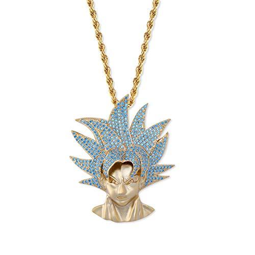 Collar con colgante de avatar de dibujos animados, hip hop microincrustaciones de circonita, moda callejera para hombres y mujeres, collar con colgante de joyería hip hop (oro, plata)