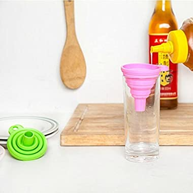Iuhan 1PC Silicone Gel Practical Collapsible Foldable Funnel Hopper Kitchen Tool Gadget (Random Color Style)