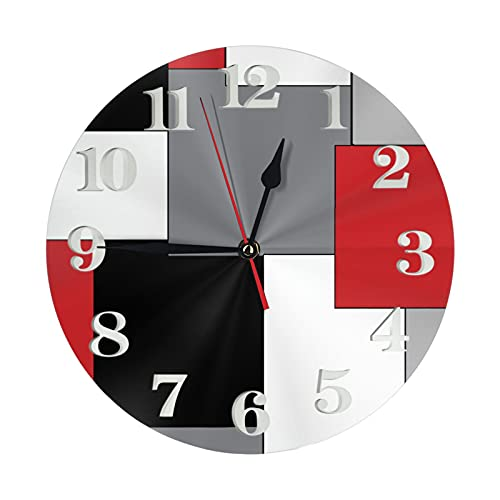 Wall Clock, 12 Inch Large Round Wall Clock Silent Non Ticking Battery Operated Decorative Clock for Home/Office/Classroom/School/Bedroom/Living Room Decor