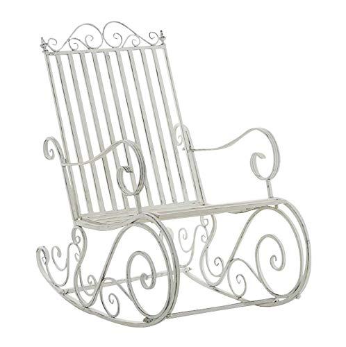 CLP Eisen-Schaukelstuhl SMILLA im Landhausstil I Schwingstuhl mit hoher Rückenlehne I erhältlich, Farbe:antik weiß