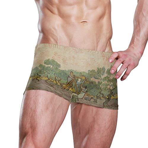 DEZIRO Van Gogh Herren Boxer-Badehose, Oliven Gr. S 7-9, 1
