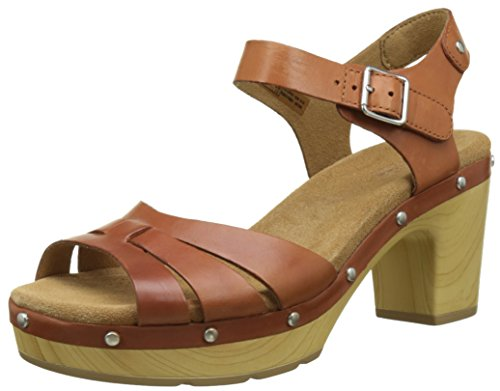 Clarks 261250874, Sandalias de Tacón Mujer, Marrón (Tan Leather), 38 EU