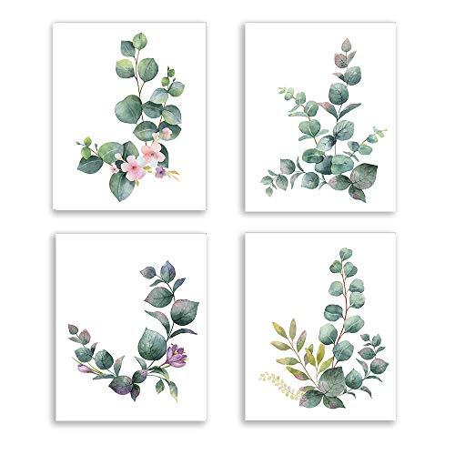 KAIRNE 4er Set Stilvolles Wohnzimmer Poster, Aquarell Grüne Blätter Bilder, Moderne Rosa Blumen Pflanze Posters, Wand Kunst Deko für Schlafzimmer,Wandbilder für Wohnzimmer Eukalyptus Ohne Rahmen
