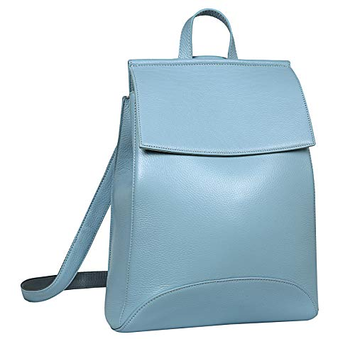 Heshe Womens Leather Backpack Casual Style Flap Backpacks Daypack for Ladies (Light Blue)