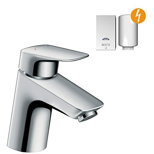 hansgrohe Wasserhahn Logis für Niederdruck (Armatur mit Auslauf Höhe 70mm und Push-Open Ablaufgarnitur) Chrom
