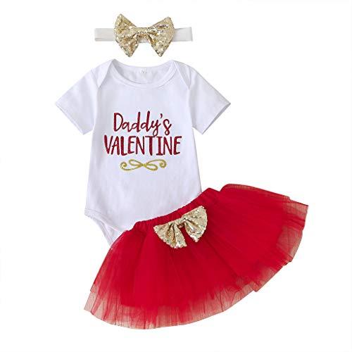 Papas Valentine Grenouillère + Tutu Rock pour fille - Blanc - 6-9 mois
