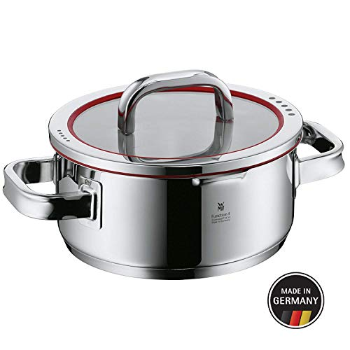 WMF Function 4 Pot - Low Casserole - Ø 8''/20 cm (Approx. 2.6qt/2.5l) - Lid with 4 Functions - Made in Germany