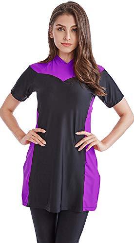 Ababalaya Damen Mädchen Modest Muslimisch Islamisch Farbblock Bescheidene Badebekleidung Burkini Kurzer Badeanzug Surfender Anzug Übergröße S-4XL,Violett,Tag Größe M= EU-Größe 36-38