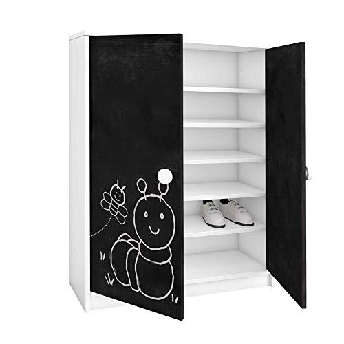 ambiato Kommode Carlo 2-türig mit Tafelfolie 6 Fächer/zum beschriften Spielzeugschrank Schuhschrank Sideboard Schuhkommode