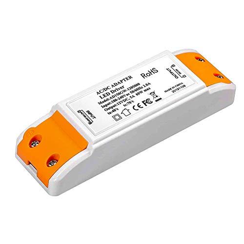 Transformador LED, fuente de alimentación LED 0-60W Adaptador de controlador LED 12V DC 5A - Voltaje constante para tiras de luces LED y bombillas LED G4, MR11, MR16 (60W)