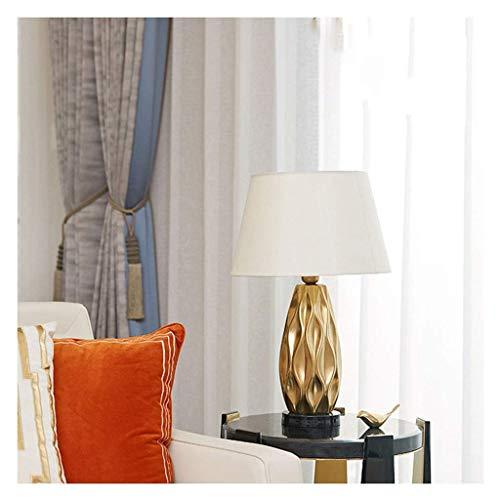 Sala de estar Dormitorio Lámpara de mesa Lámpara de mesita de noche de cerámica moderna Forma corrugada de cerámica dorada Forma de tambor blanco Sombra Simple Estilo moderno Dormitorio Sala de estar
