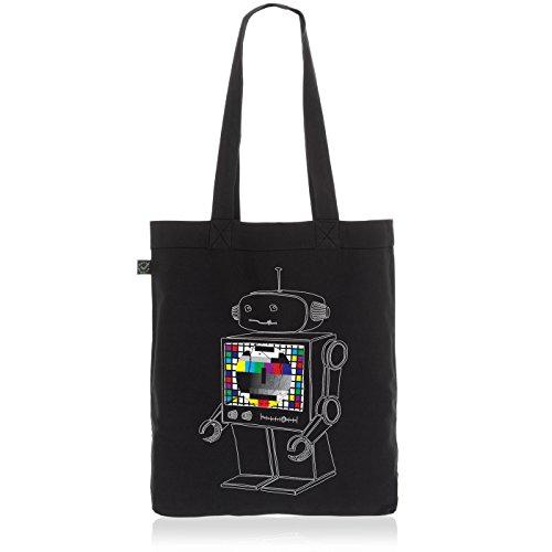 style3 Testbild Roboter Biobaumwolle Beutel Jutebeutel Tasche Tote Bag, Farbe:Schwarz