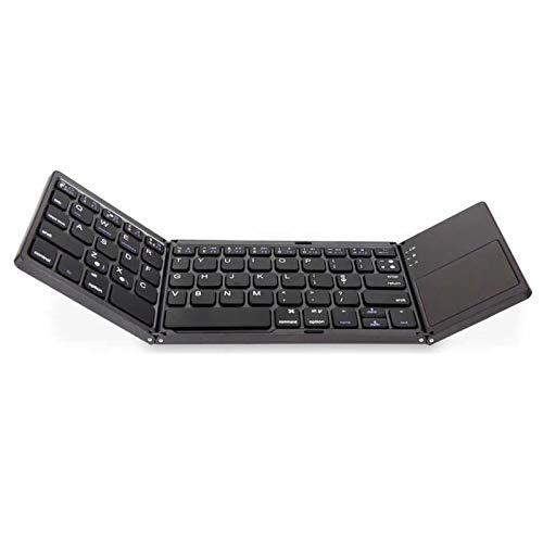 BBOOY Teclado Bluetooth Plegable con Panel Táctil, Panel Táctil De Alta Sensibilidad, Retraso Cero, Mini Teclado Plegable De Tres, Adecuado para iPhone, iPad Pro, Android, iOS, Windows,Negro