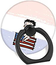 Cell Phone Finger Ring Holder Stand Car Mount Works for iPhone 5 6 7 8 X Plus Samsung Galaxy S8 S9 Ipad-Americana Betty boop Sitting on American Flag