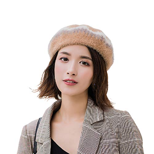 Profusion Cicle Vintage Female Winter Autumn Outdoor Fashion Warm Printed Knitted Plaid Beret Hat Windproof Lightweight Beanie Cap as Christmas Birthday Gift Camel