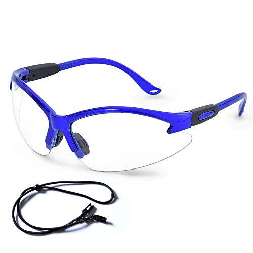 SAFEYEAR - Gafas de seguridad (protección CE) - Gafas de seguridad para protección de los ojos con lentes transparentes antivaho y gafas de trabajo con goma para la nariz y los oídos, azul