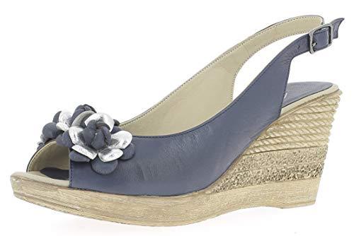 Andrea Conti Damen Keilsandalette 1673415 Offene Sandalen mit Keilabsatz, Größe:38 EU, Farbe:d.blau/Silber