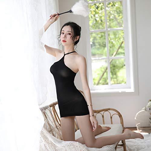 Sexy Dessous Mesh Neckholder Träger Trägerlosen Rucksack Hip Seide Rock Pyjama Uniform Versuchung Sexy