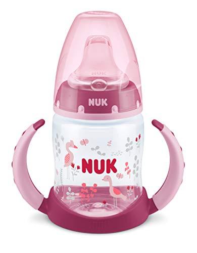 Nuk First Choice Trinklernflasche, Silikon-Trinktülle, 6-18 Monate, 150 ml, Vogel (Rosa)